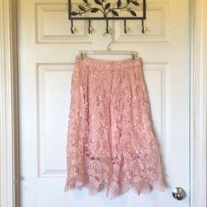 Midi Pink Lace Skirt